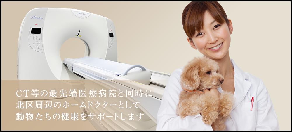 最先端医療対応病院と同時に北区周辺のホームドクターとして動物たちの健康をサポートします